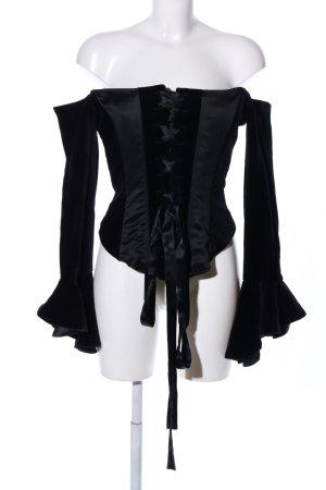 Swing Langarm-Bluse schwarz Elegant