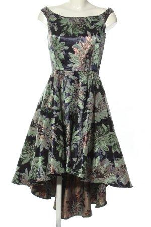 Swing Sukienka z halką khaki-niebieski Na całej powierzchni Elegancki