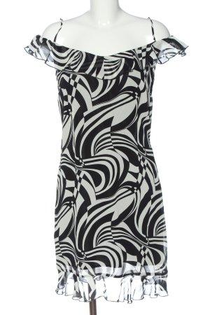 Swing Trägerkleid weiß-schwarz abstraktes Muster Elegant
