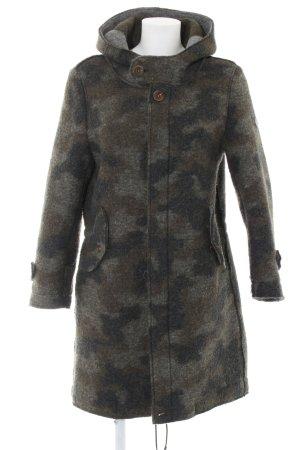 Wollmantel khaki-hellgrau Camouflagemuster Casual-Look