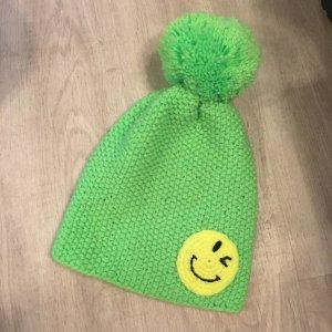 Bonnet à pompon jaune fluo-vert fluo