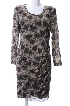 sylver Langarmkleid creme-hellgrau abstraktes Muster Elegant