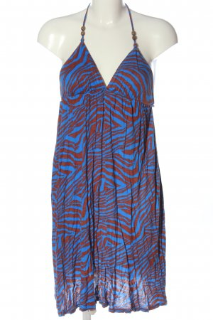 T-Bags Halter Dress brown-blue allover print casual look