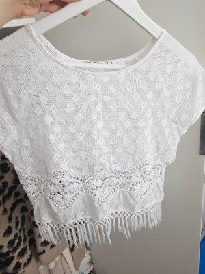 Bershka Crochet Shirt white