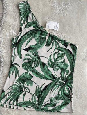 H&M Camisa de un solo hombro blanco-verde bosque
