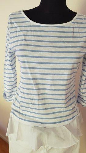 Comma T-shirt rayé blanc-bleu clair