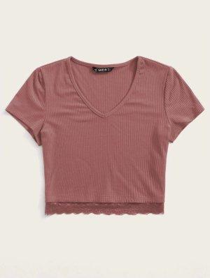 SheIn Camisa con cuello V rojo frambuesa