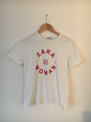 Zara T-shirt biały-czerwony