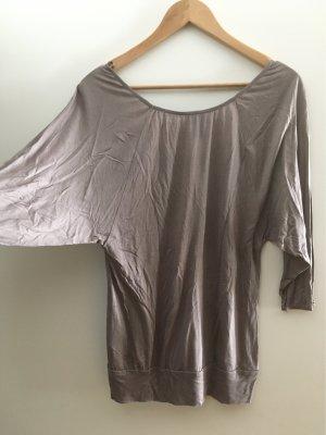 H&M Carmen Shirt grey brown-light brown viscose