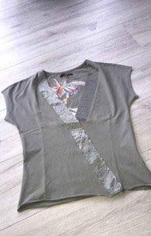 Amisu Camiseta estampada gris-gris verdoso