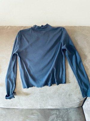 Brandy & Melville Shirt basique bleu foncé-gris ardoise coton