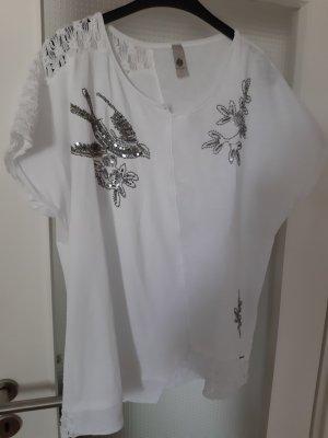 Tredy Camisa tipo túnica blanco-color plata
