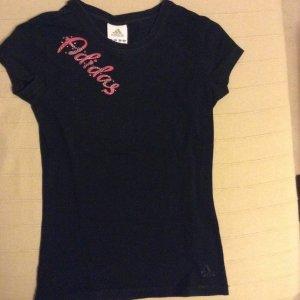 T-Shirt Adidas schwarz mit glitzernden pinken Schriftzug Größe xs/ 34