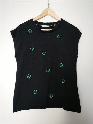 T-Shirt Allover Stitching Schwarz Grün Organic Cotton edc by Esprit Gr. 36/S
