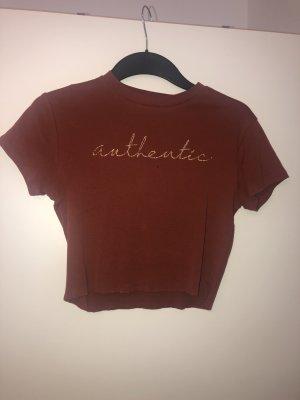 Tally Weijl T-shirt court brun rouge-orange doré