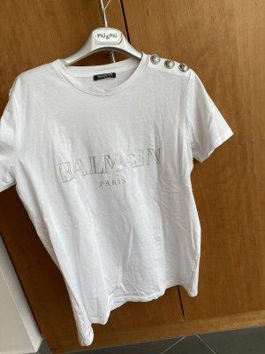 Balmain T-shirt bianco-argento