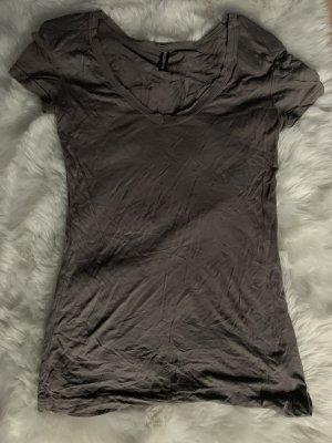 T Shirt Basic V Ausschnitt Schulterpolster taupe