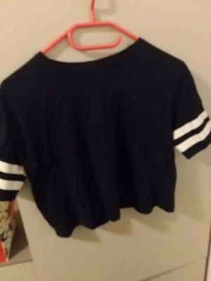 H&M Basic Camisa de manga corta blanco puro-azul oscuro