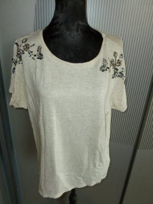 T-Shirt beige Pailletten Only