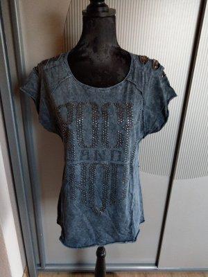 T-Shirt blau türkis Tredy Pailletten