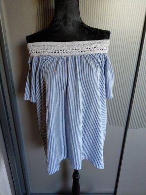 Vero Moda Koszula typu carmen biały-niebieski neonowy