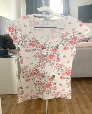 T-Shirt Blumen weiß, rosa Größe M