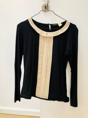 T-Shirt Bluse mit Seideneinsatz - Schwarz / Beige