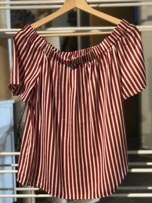 H&M Camisa tipo Carmen burdeos-crema