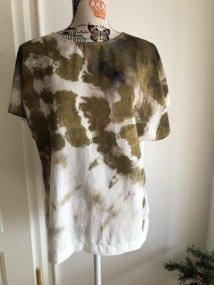 Zara Camicia a tunica verde oliva-bianco sporco