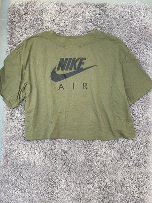 T-Shirt Crop Top Grün Khaki Nike Logo Print Aufdruck