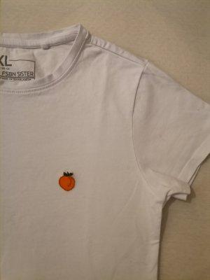 T-shirt cropped Peach bestickt