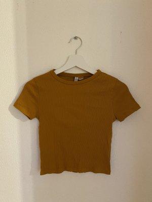 H&M Divided Prążkowana koszulka piaskowy brąz-złotopomarańczowy