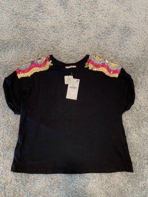 T-Shirt Damen Zara (S) schwarz farbige Pailletten UNGETRAGEN