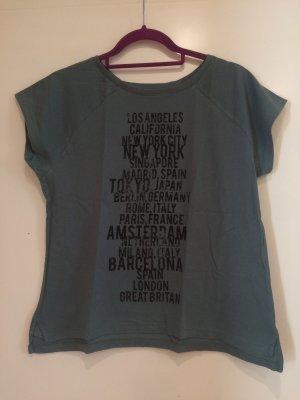T-Shirt dunkelgrün mit Aufdruck, Jacqueline de Yong, Gr. S