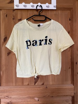 H&M Divided T-Shirt black-pale yellow