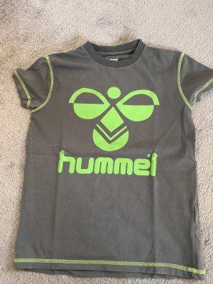 Hummel T-shirt gris foncé-vert fluo