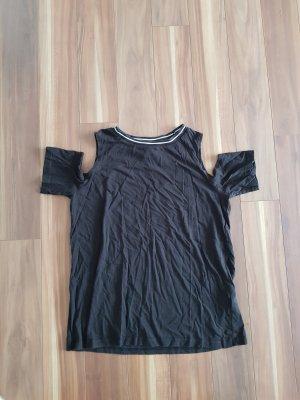 T-Shirt freie Schulter Top Oberteil Gr. S von H&M divided in schwarz