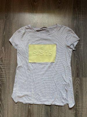 T-Shirt gestreift zara Rechteck Druck Logo gelb neon weiß schwarz S/S  15