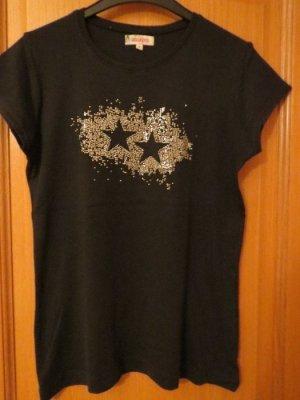 T-Shirt, Gr.40/M, schwarz, mit Steinchen