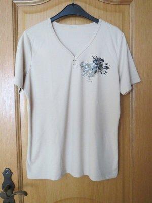 T-Shirt, Gr.42/M, beige, Kurzarm
