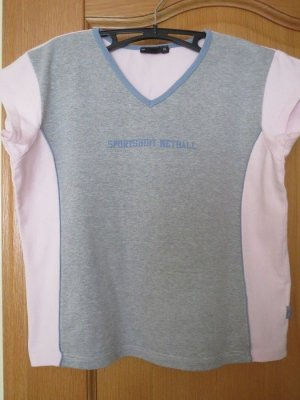 T-Shirt, Gr.M/L, grau-rosa, Kurzarm