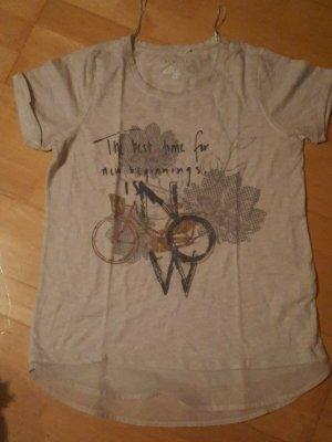 T-Shirt Gr. S 36/38, meliert mit angesetzdem Blusenteil