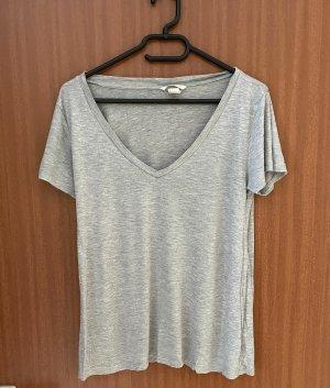 T-Shirt Grau Gr. 36 38 S H&M Basic Shirt Kurzarm
