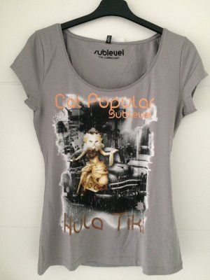 Sublevel T-Shirt grey-light grey cotton