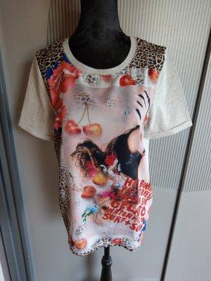 T-Shirt grau Leoparden Muster oui