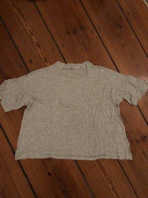 T-Shirt Grau meliert von T by Alexander Wang weites Shirt aus softer Baumwolle Rundhals
