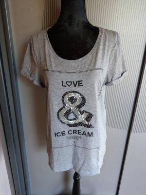 T-Shirt grau Pailletten oui