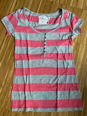 T-Shirt grau pink gestreift Grösse M NEU ungetragen