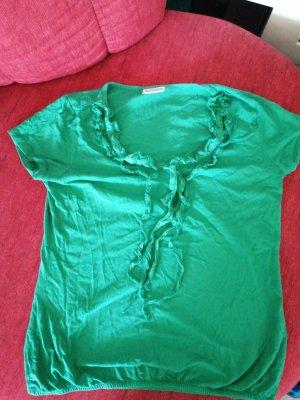 T-Shirt grün Baumwolle mit Rüschen und Zierbändern