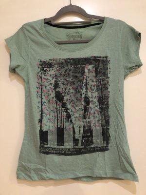 T-Shirt grün mit Aufdruck schwarz pink, Gr. 38, Atmosphere